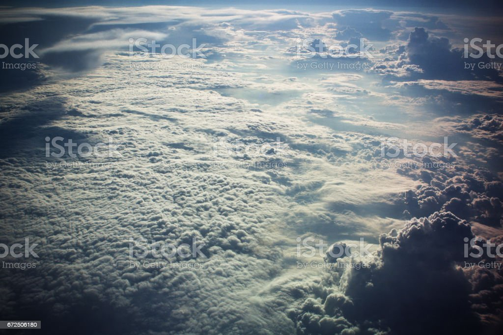 clouds from the airplane window stock photo