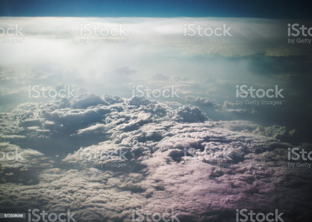 clouds from the airplane windows stock photo