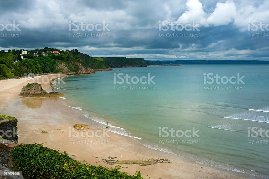 Clouds gathering over North Beach, Tenby, West Wales stock photo