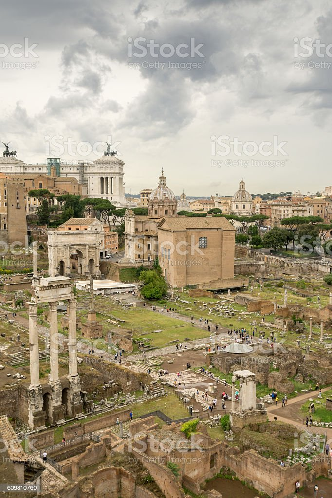 Clouds Gathering Over the Ancient Roman Forum stock photo