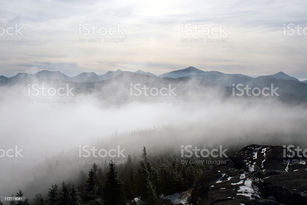 Clouds Going Over Mountain royalty-free stock photo