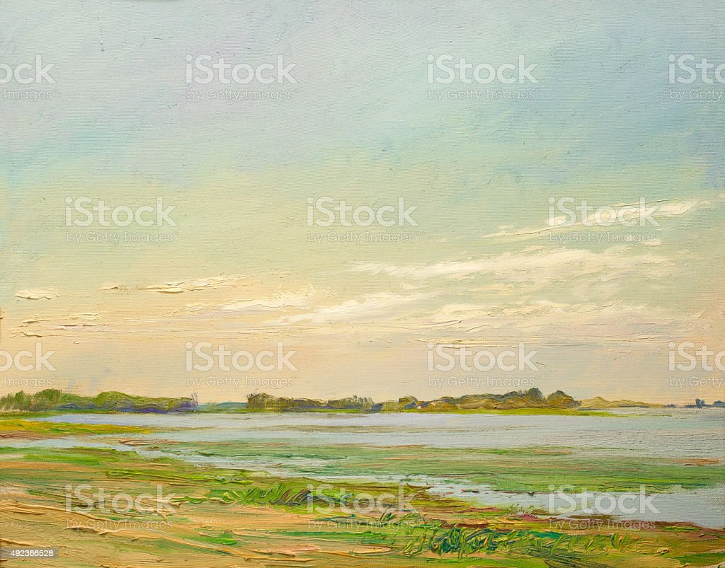 clouds illuminated by the sun,  painting oil on canvas stock photo