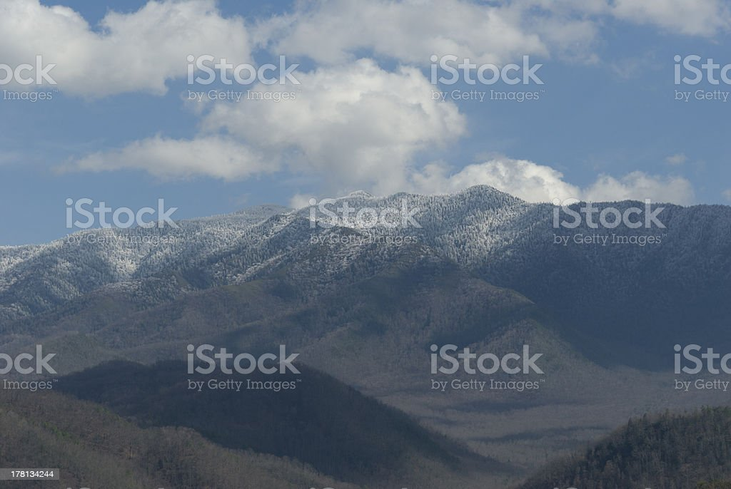 Clouds in Blue Sky over Frosty Mt. LeConte royalty-free stock photo