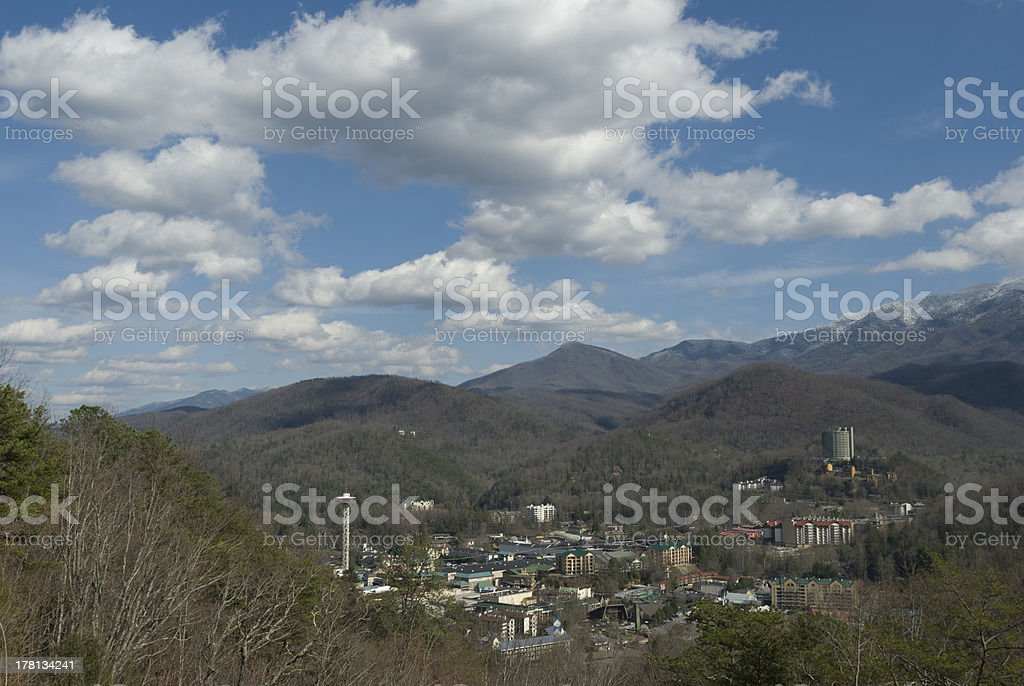 Clouds in Blue Sky over Gatlinburg, Tennessee stock photo