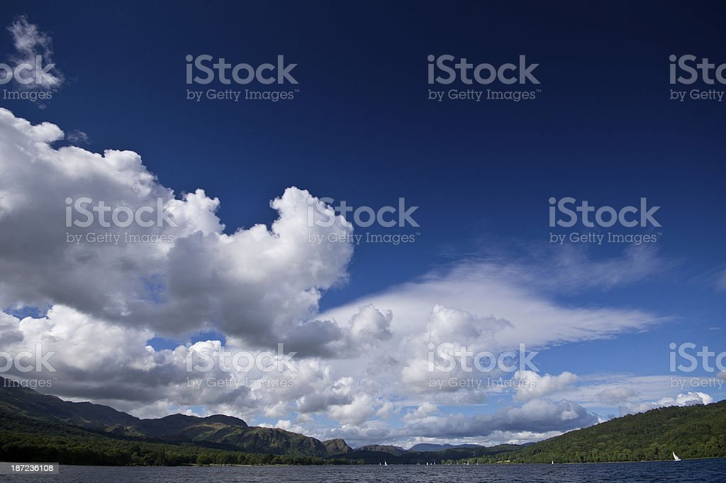 Clouds in polarised sky over Coniston Water stock photo