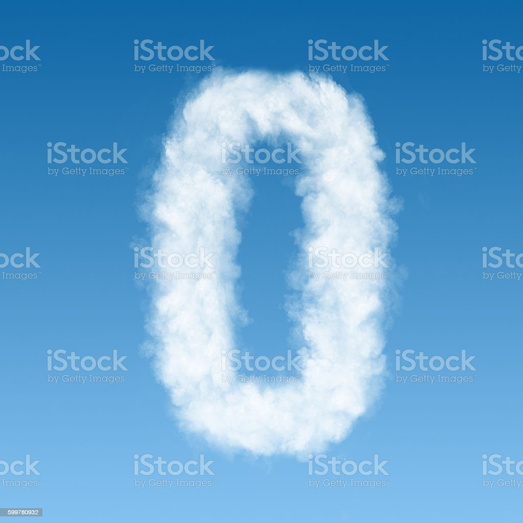 clouds in shape of figure zero stock photo
