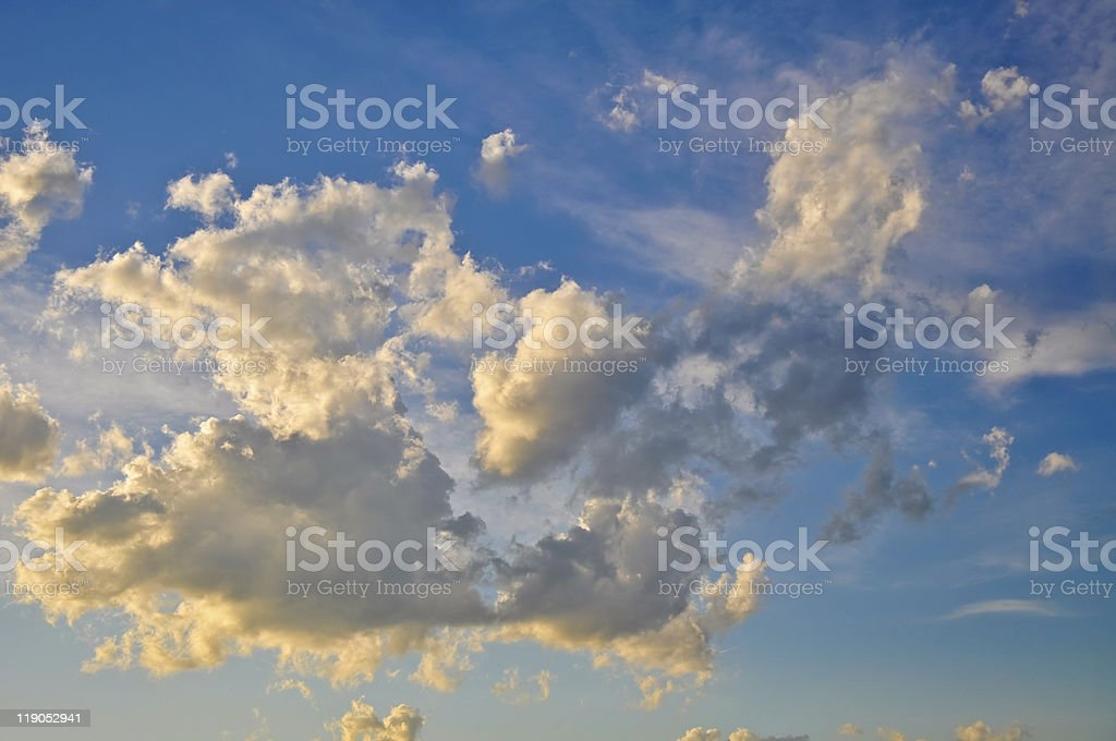 Clouds in the blue clear sky royalty-free stock photo