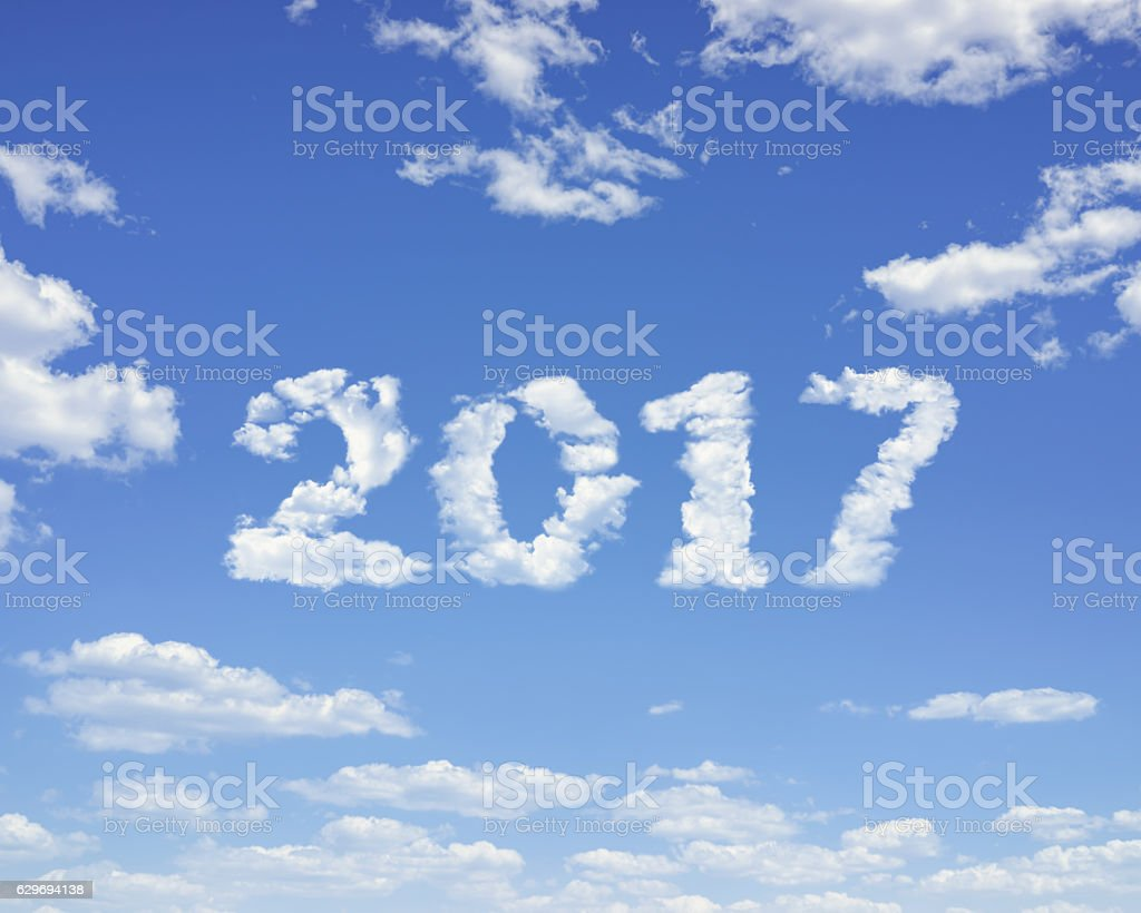 Clouds in the Shape of 2017 stock photo