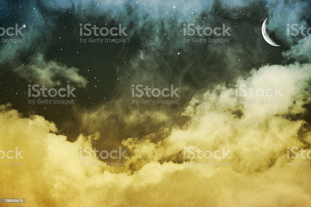 Clouds, Moon and Stars stock photo