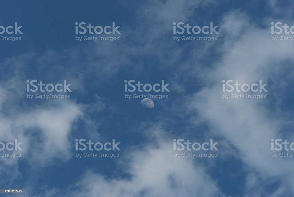 Clouds, Moon & Big Blue Sky in Great Smoky Mtns royalty-free stock photo