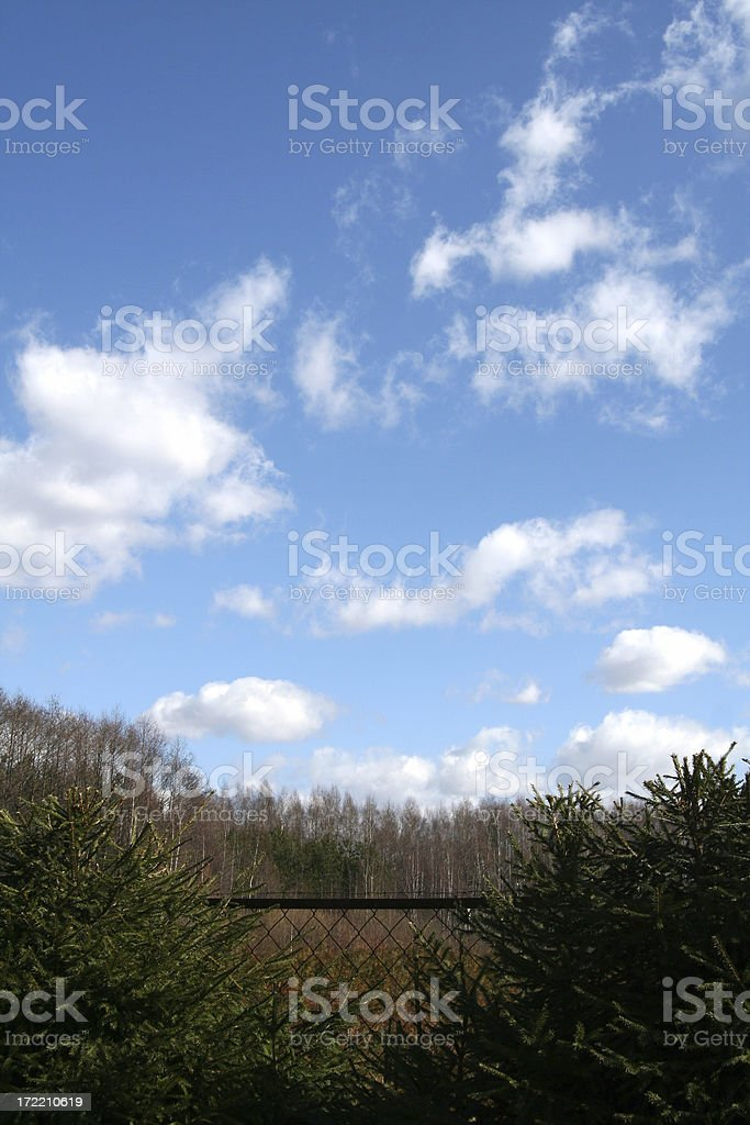 Clouds on blue sky, trees, fence royalty-free stock photo