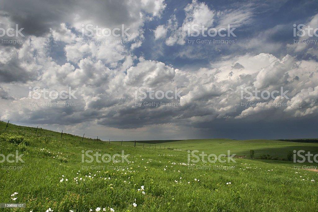 Clouds on Prairie stock photo
