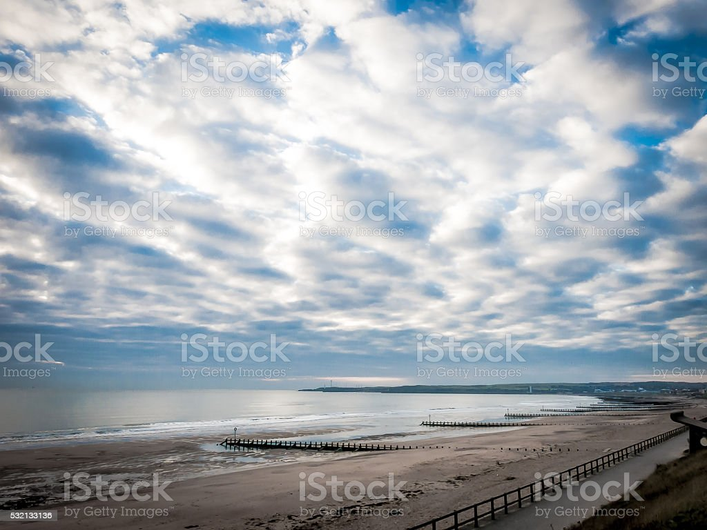 Clouds Over Aberdeen Beach, Scotland stock photo
