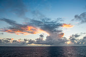 Clouds over Caribbean Sea at sunset