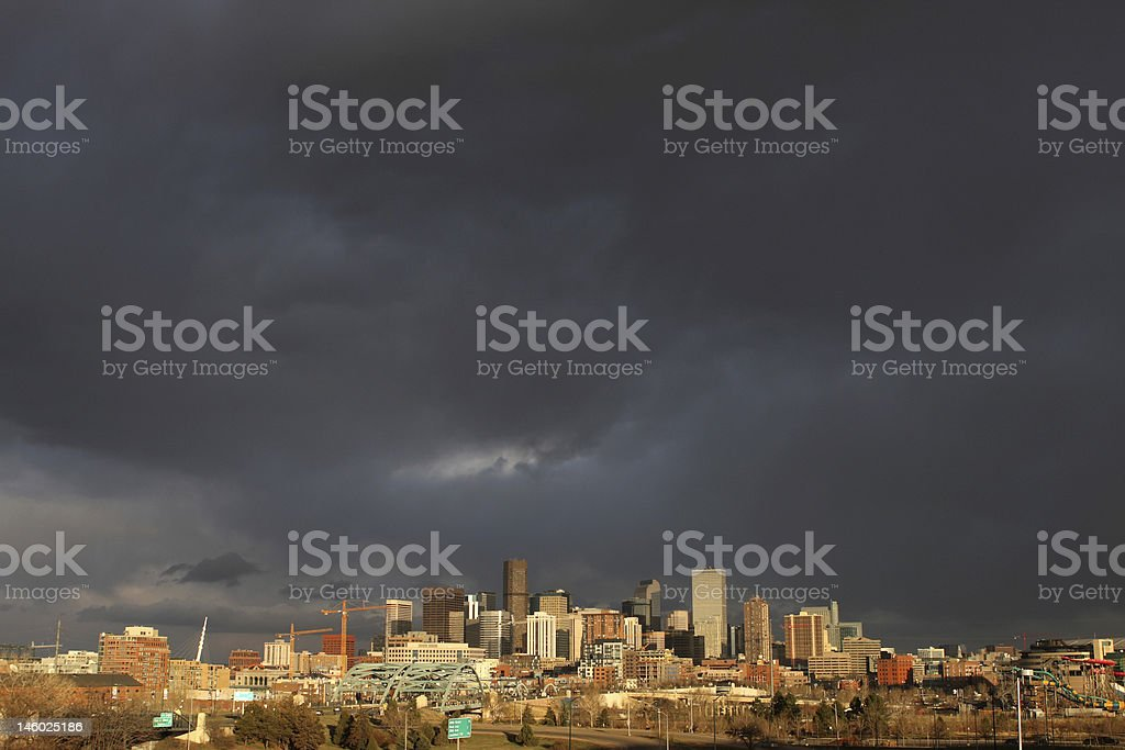 Clouds over downtown Denver stock photo