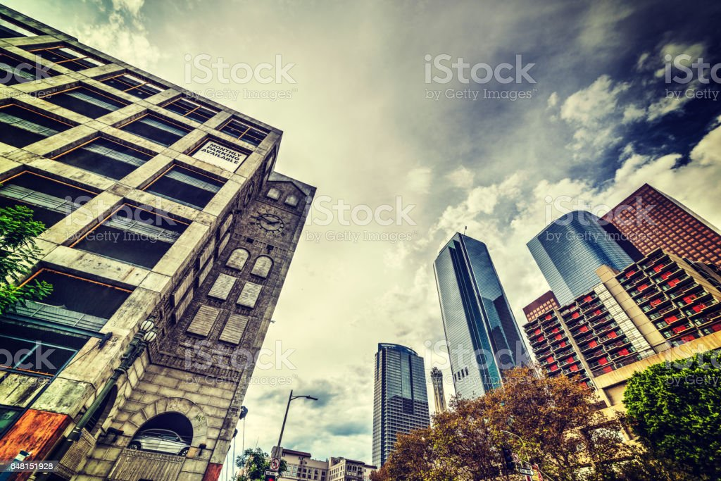 Clouds over downtown Los Angeles stock photo