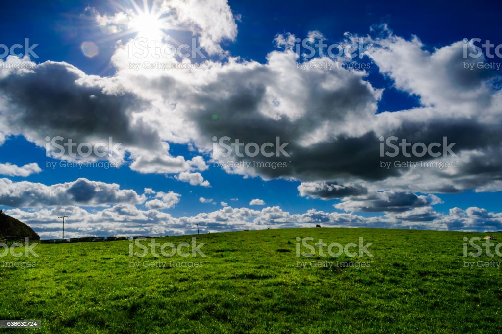 Clouds Over Grassland stock photo