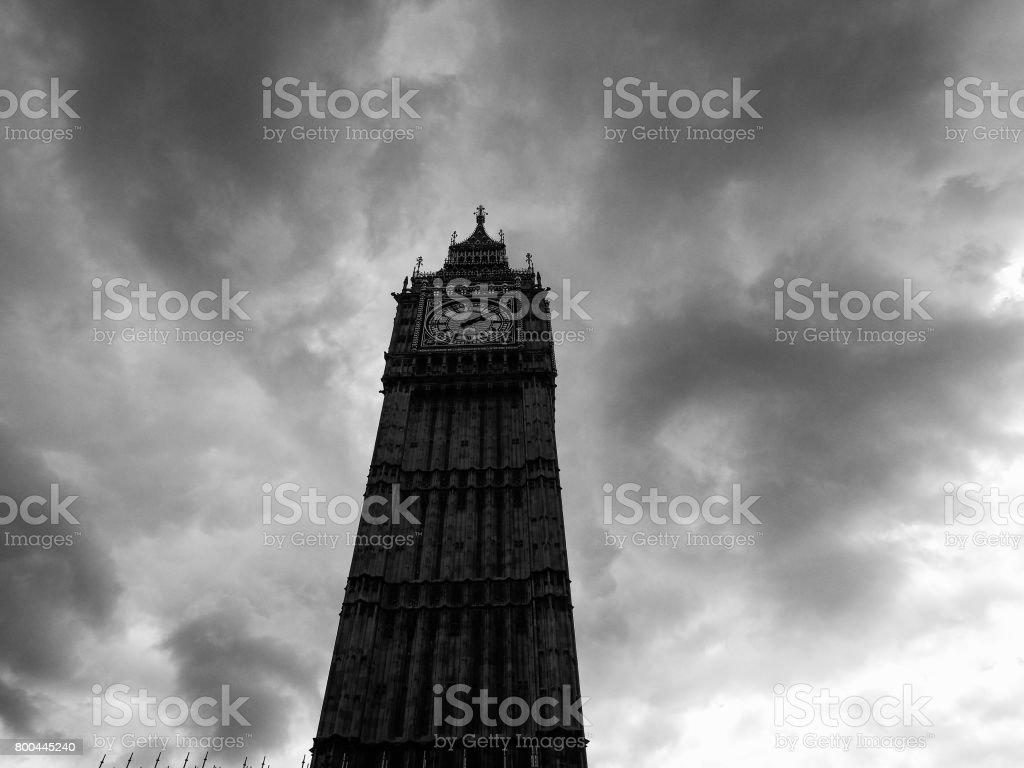Clouds over Houses of Parliament in London stock photo