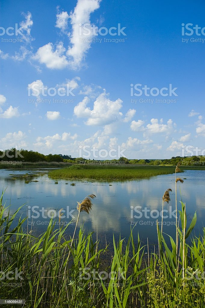 Clouds over lake royalty-free stock photo