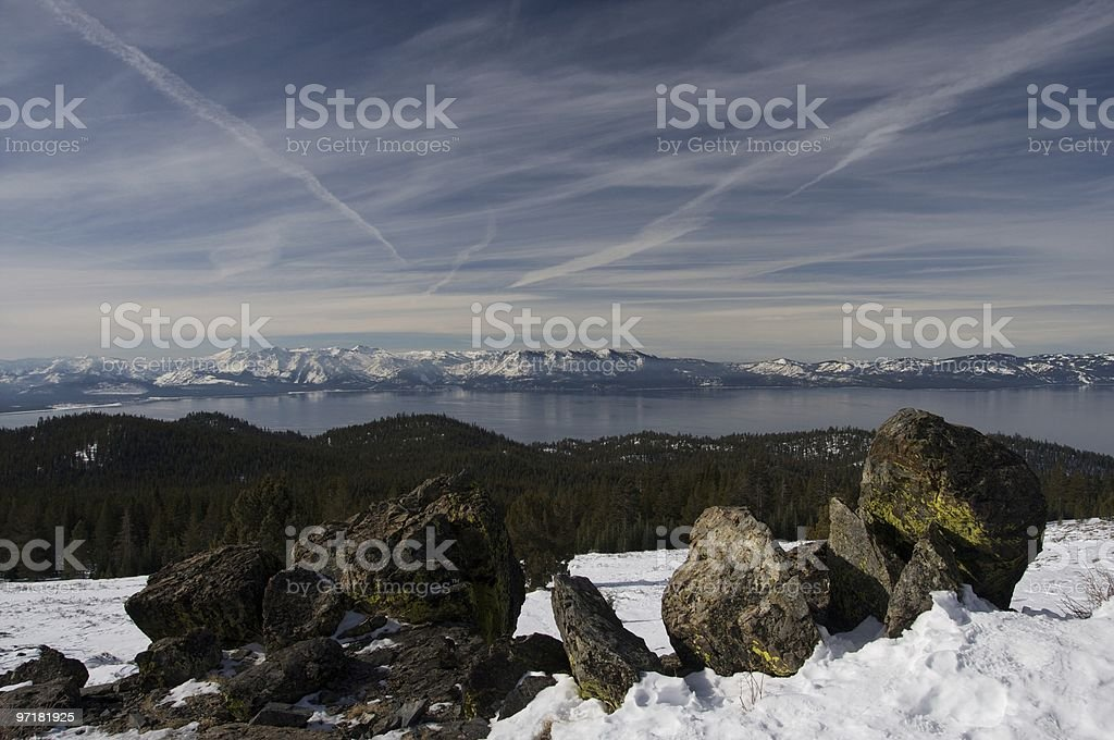 Clouds over Lake Tahoe stock photo