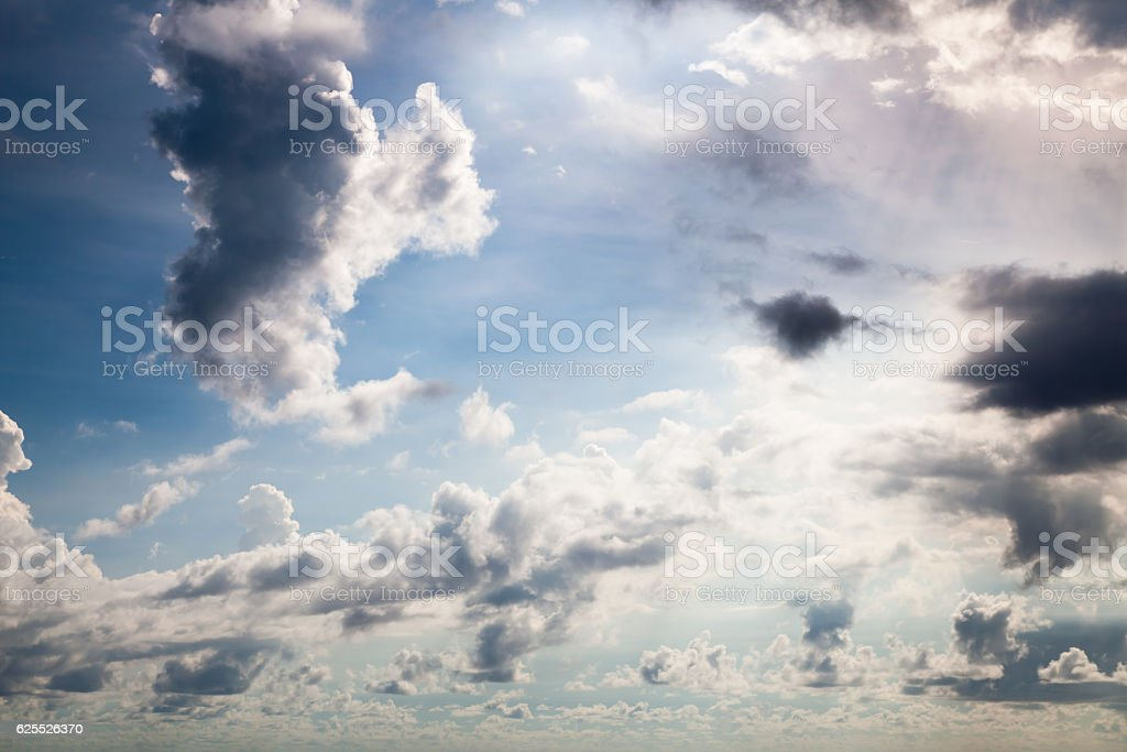 Clouds over Long Bay in Saint Martin stock photo