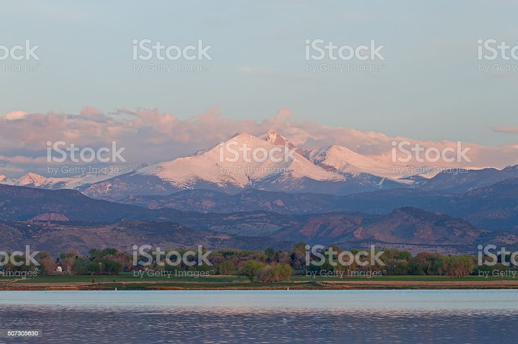 Clouds Over Long's Peak Colorado stock photo