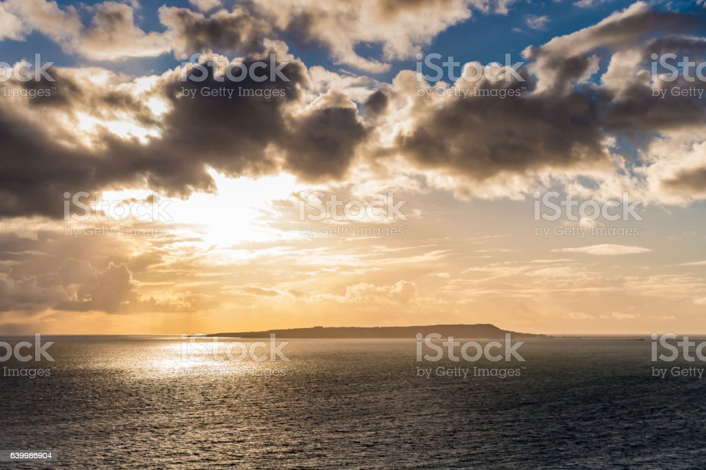 Clouds over Portland Bill headland in Dorset stock photo