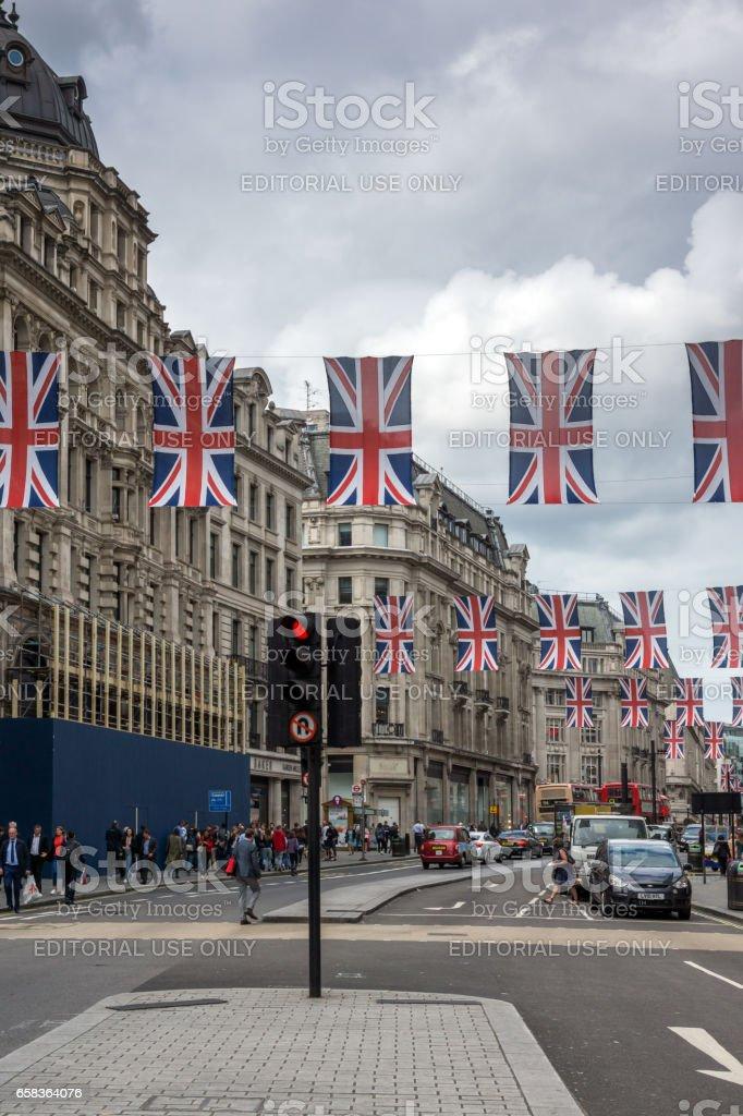 LONDON, ENGLAND - JUNE 16 2016: Clouds over Regent Street, City of London, England stock photo