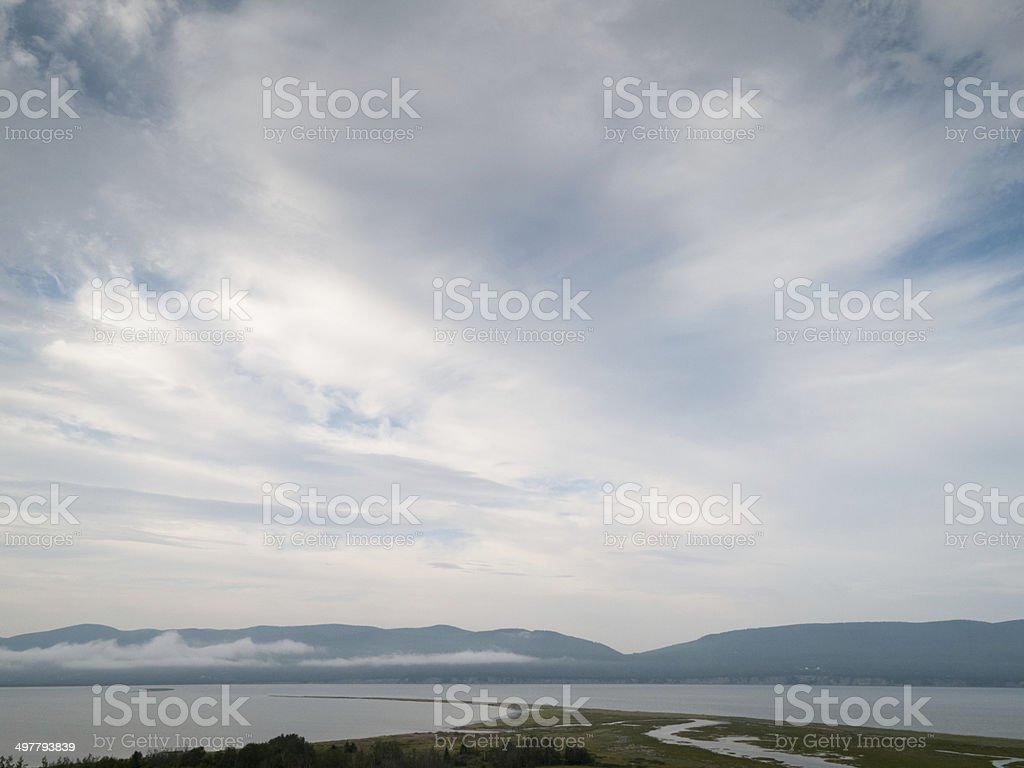 Clouds over river, Quebec, Canada royalty-free stock photo