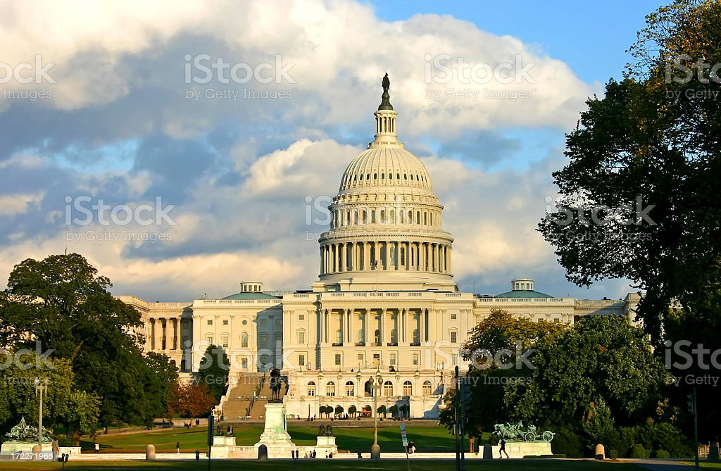 Clouds over the Capitol in Washington DC (USA) royalty-free stock photo