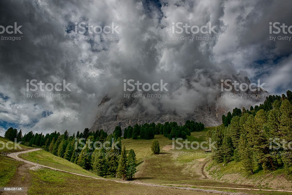 Clouds over the mountains stock photo