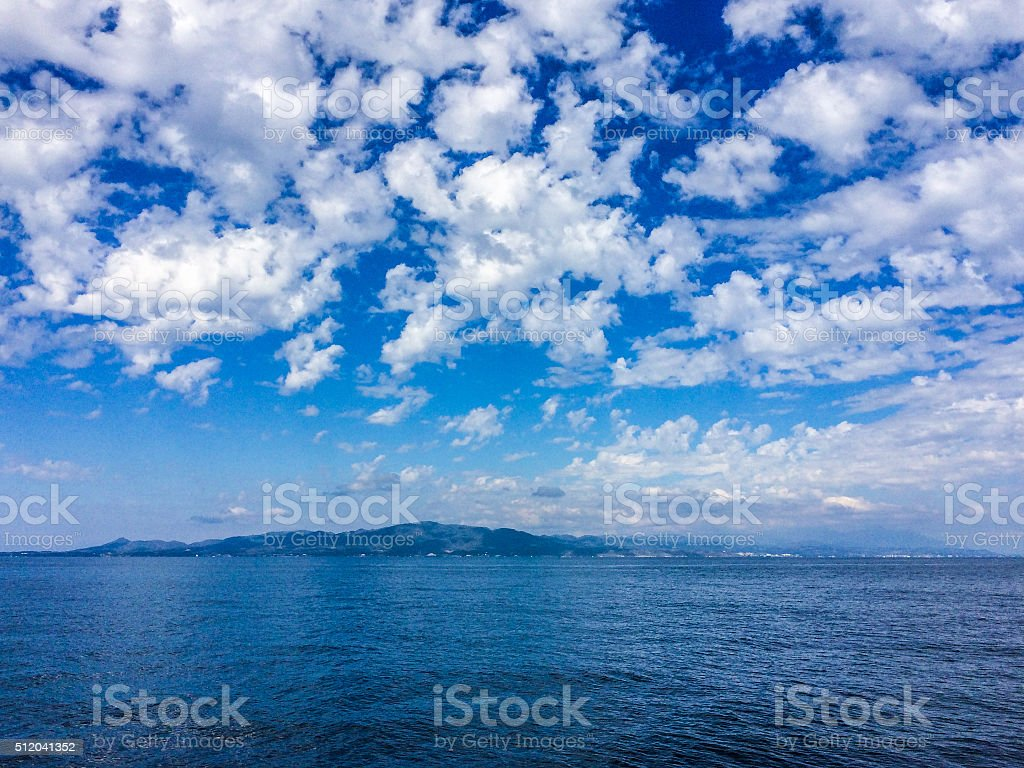 Clouds over the ocean in Mexico stock photo