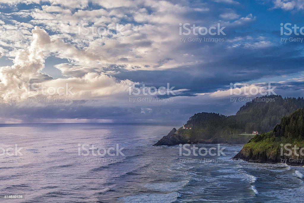 Clouds over the Oregon Coast stock photo