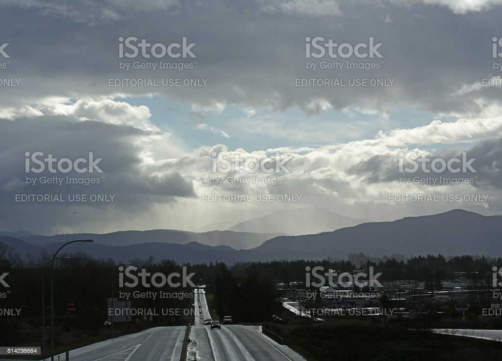Clouds over Trans-Canada Highway, Fraser Valley, British Columbia, Canada, Winter stock photo