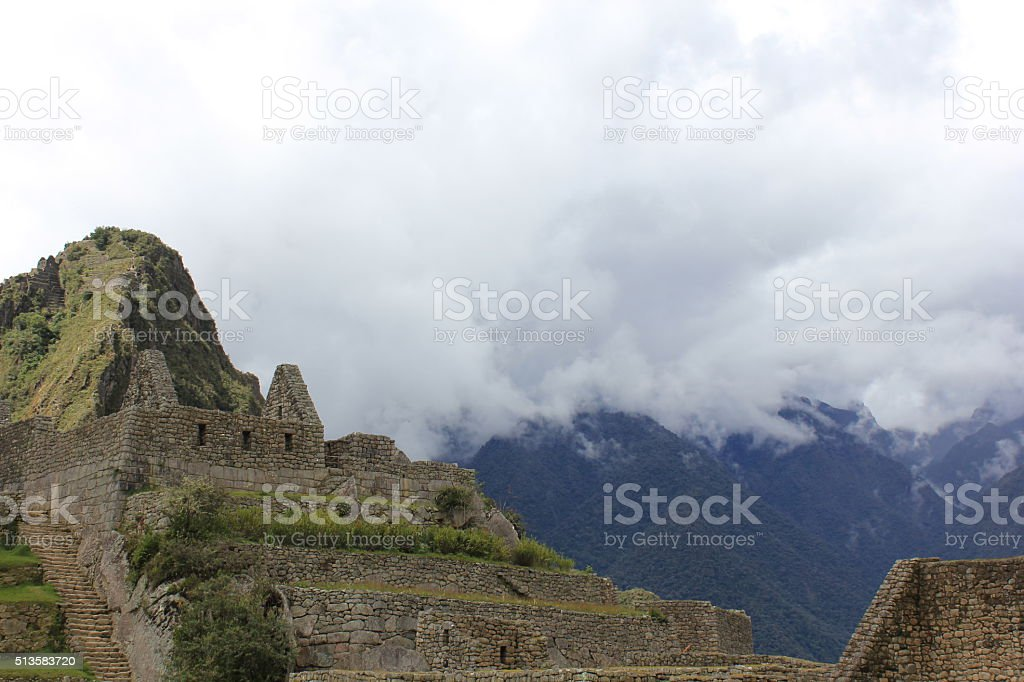 Clouds over Wayna Picchu stock photo