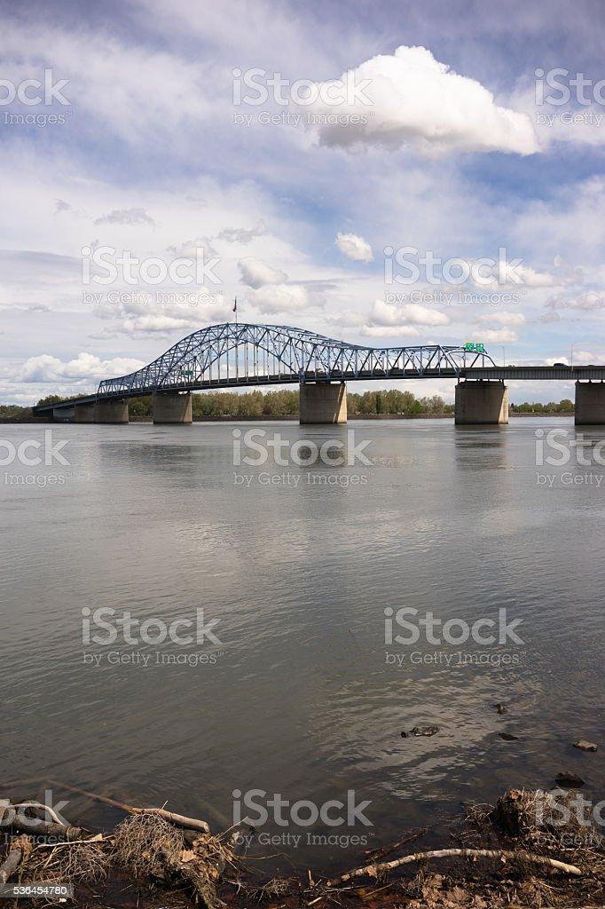 Clouds Past Pioneer Memorial Bridge Columbia River Kennewick Washington stock photo