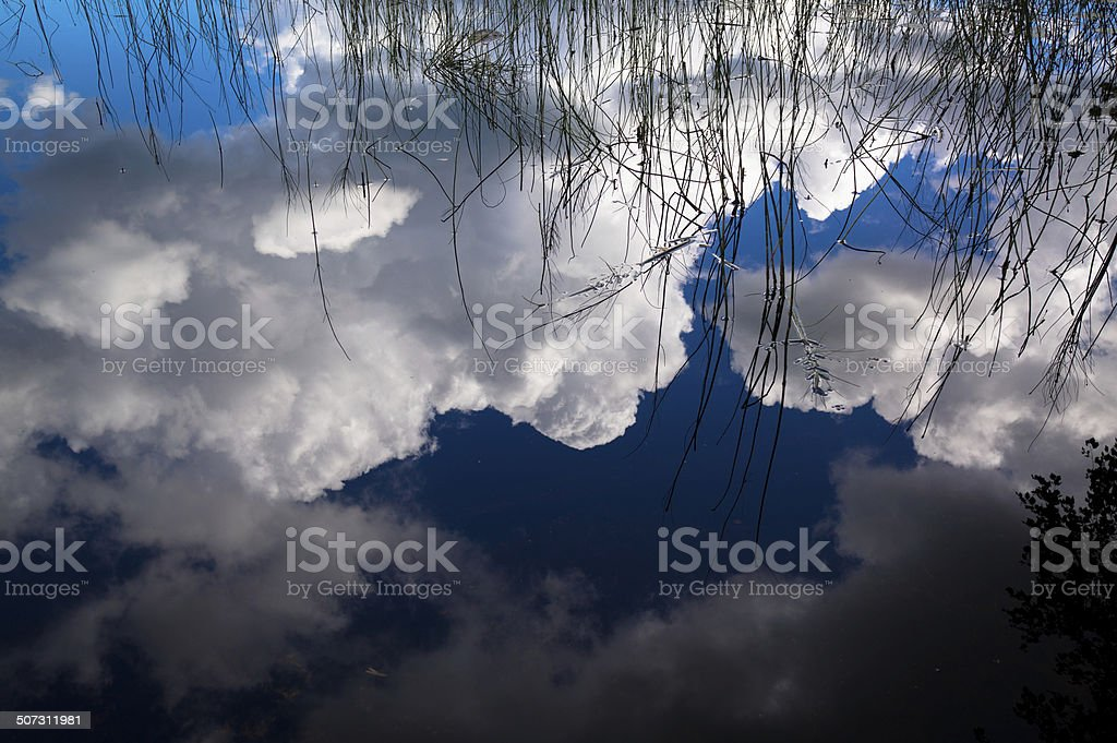Clouds reflected in lake royalty-free stock photo