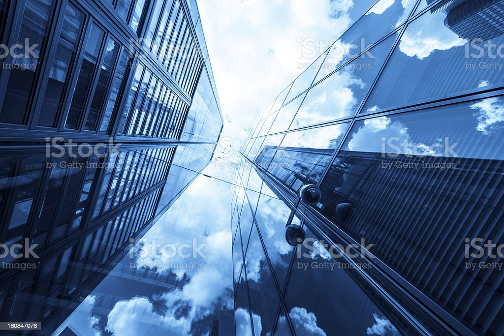 Clouds reflected in modern office buildings, Frankfurt, Germany royalty-free stock photo