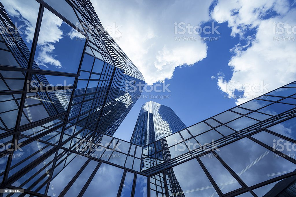 Clouds reflected in modern office buildings, Frankfurt, Germany stock photo