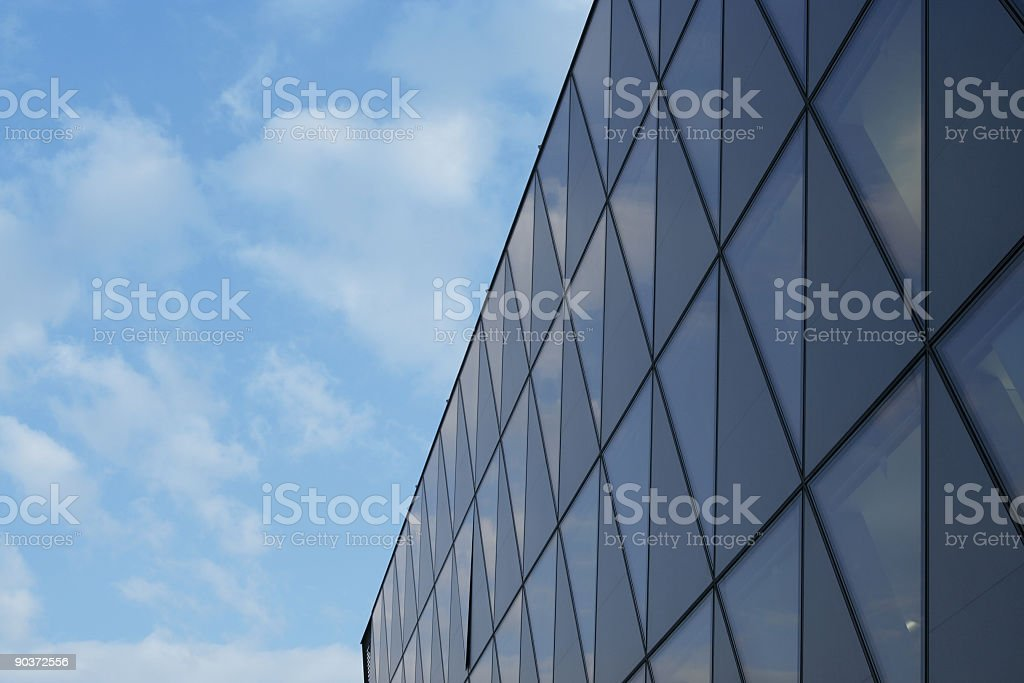 Clouds reflected on Glass Structure stock photo