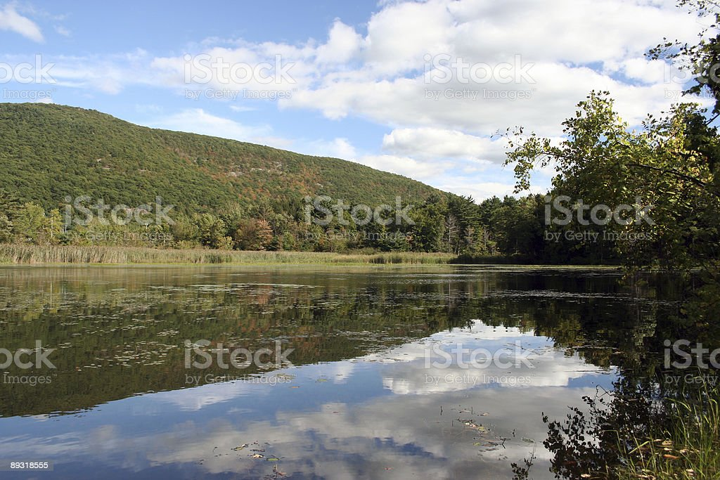 Clouds reflecting in a Mountain Lake royalty-free stock photo