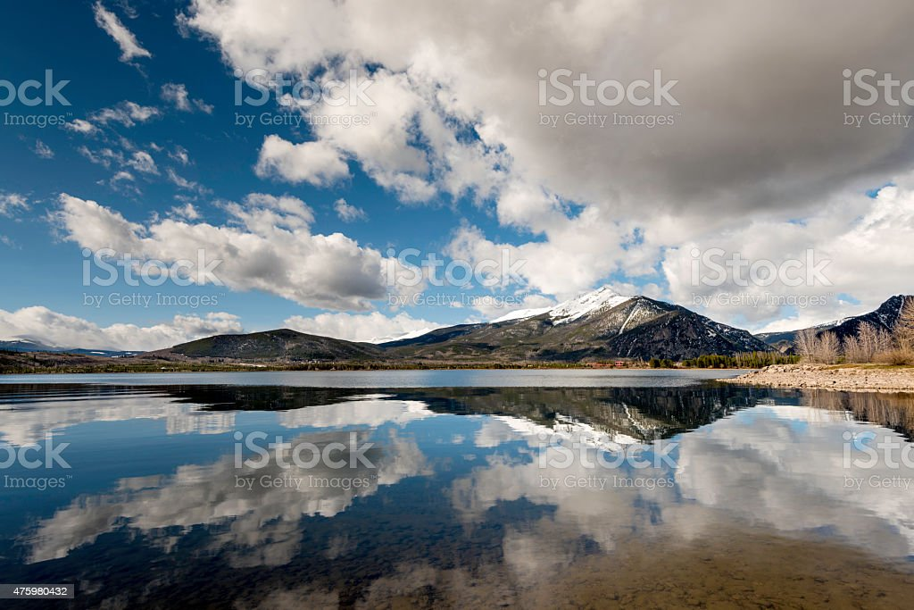 Clouds reflection in a still water lake stock photo