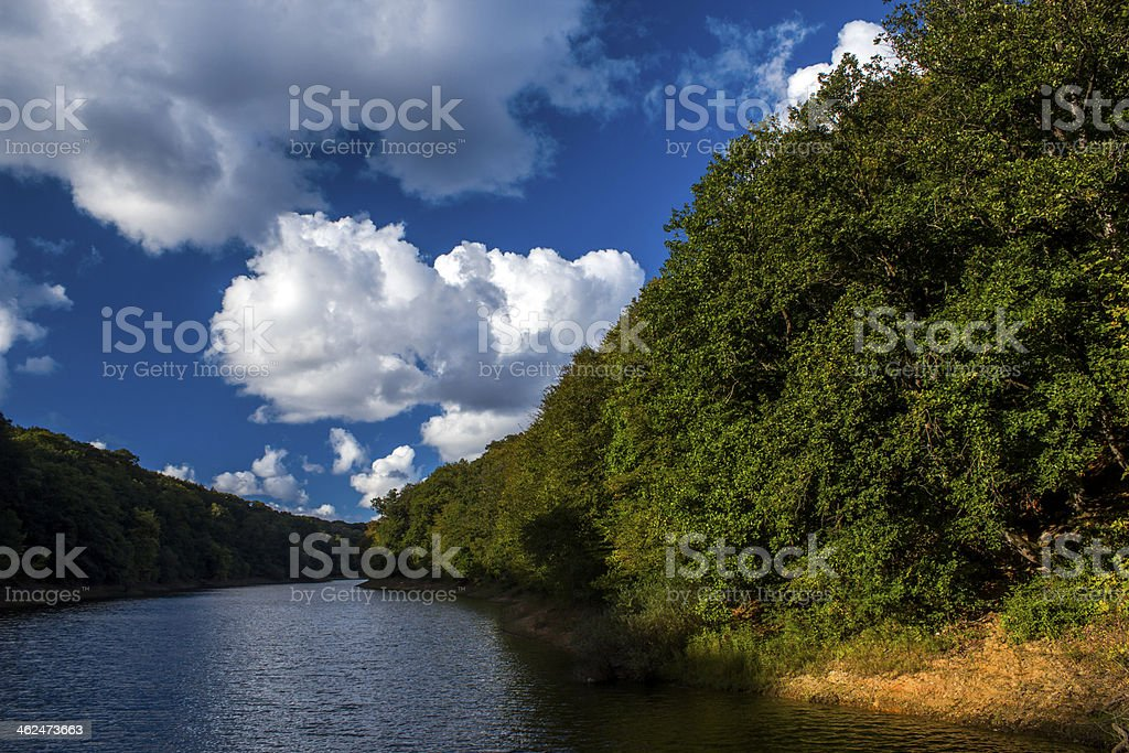 Clouds, River and the Belgrade forest royalty-free stock photo