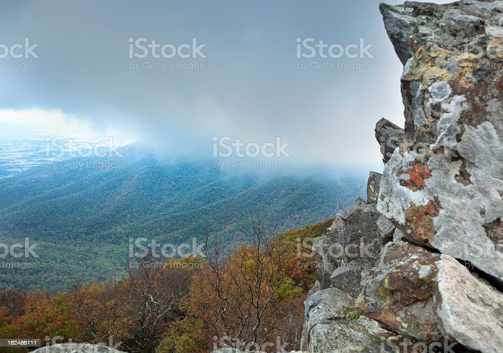 Clouds Rolling in over the Blue Ridge stock photo