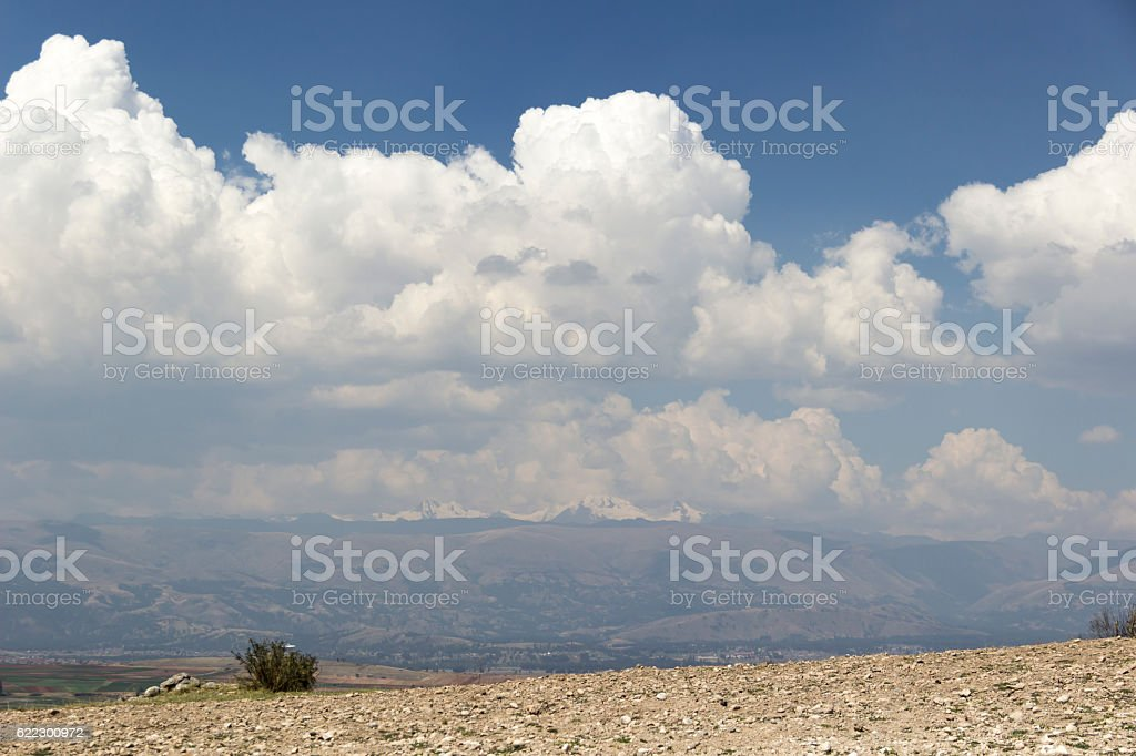 Clouds, snowy and valley, at 3900 meters above sea level stock photo