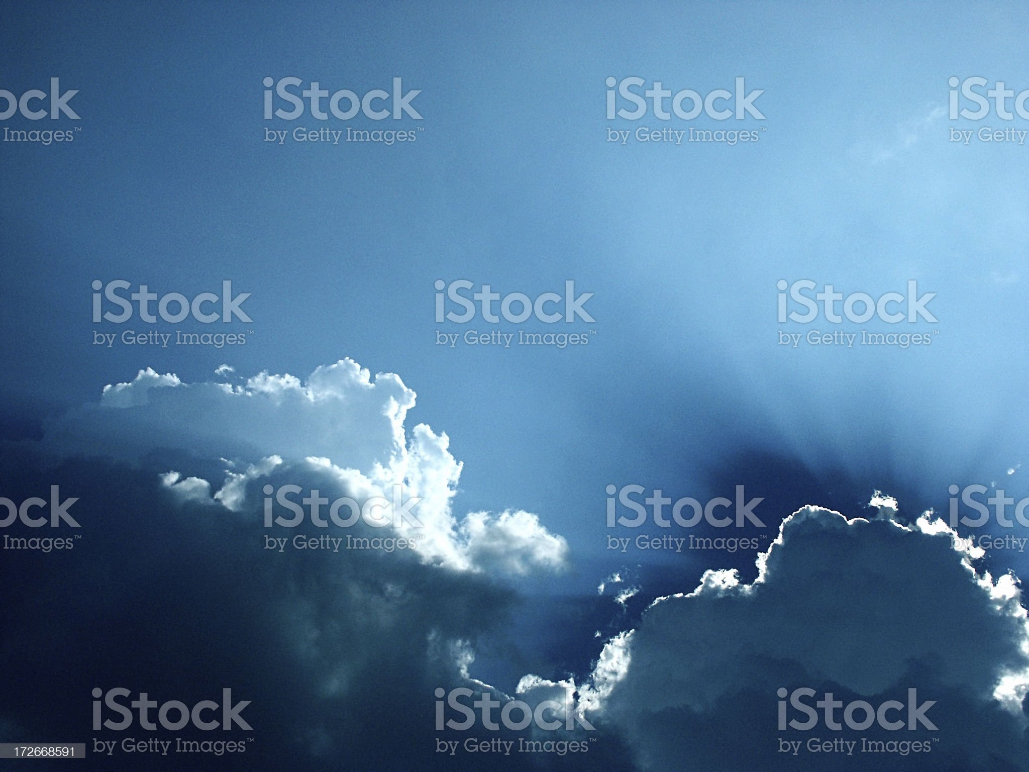 Clouds w/ Rays (2) royalty-free stock photo
