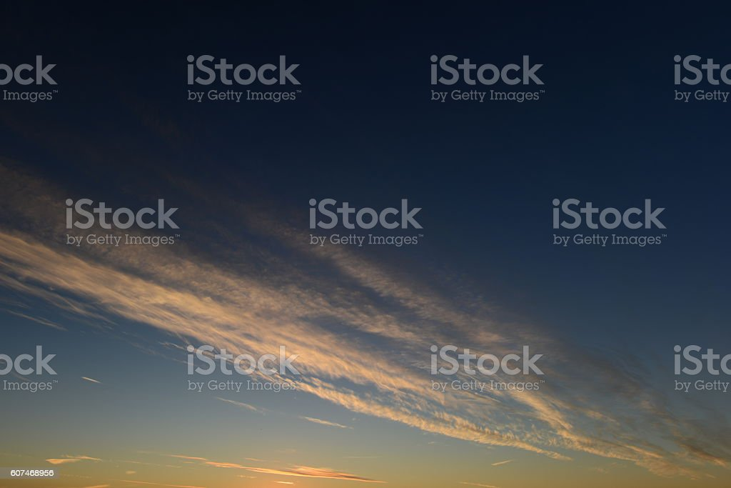 Clouds white stripe in the clear blue sky stock photo