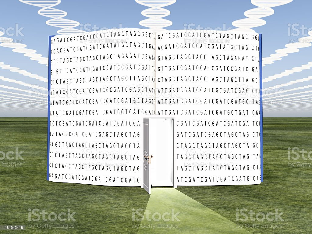 DNA clouds with open book of life stock photo
