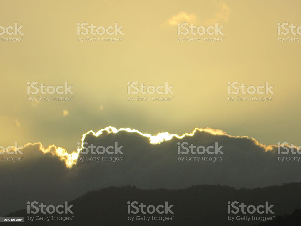 Clouds with silver lining stock photo