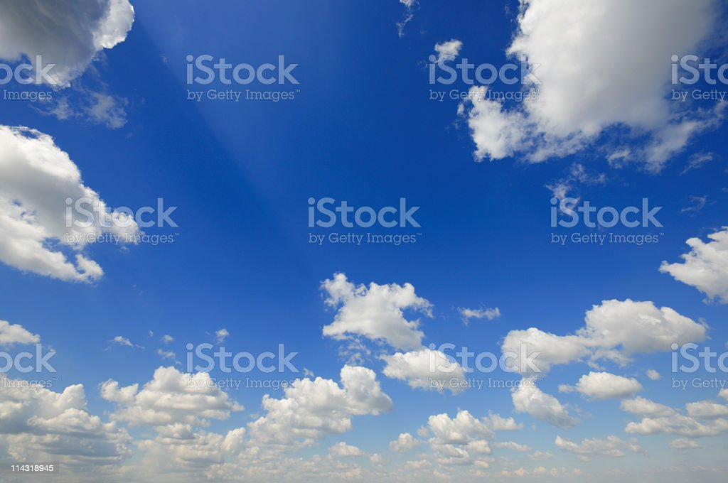 Clouds with Sunbeam on Blue Sky royalty-free stock photo